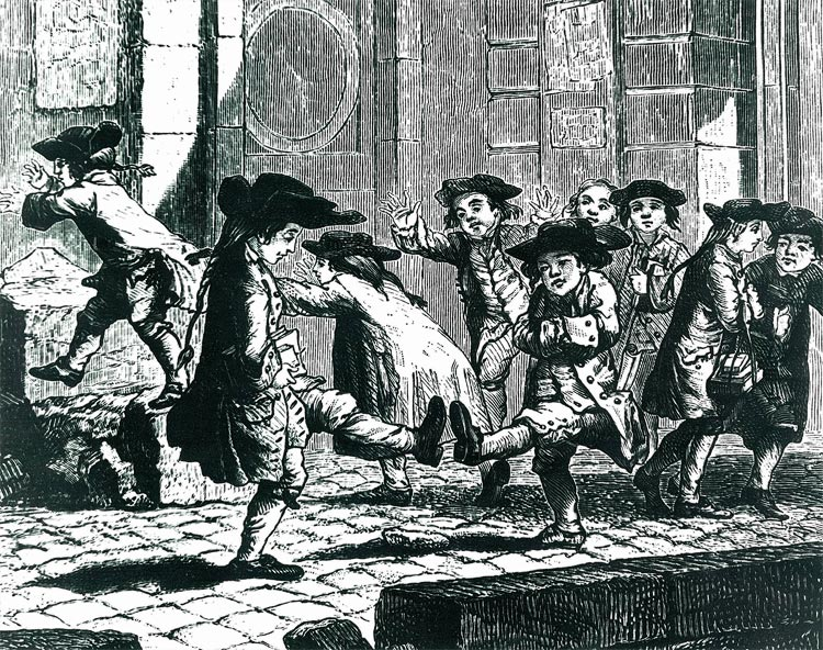 Depiction of young boys playing during the period De La Salle was establishing schools.