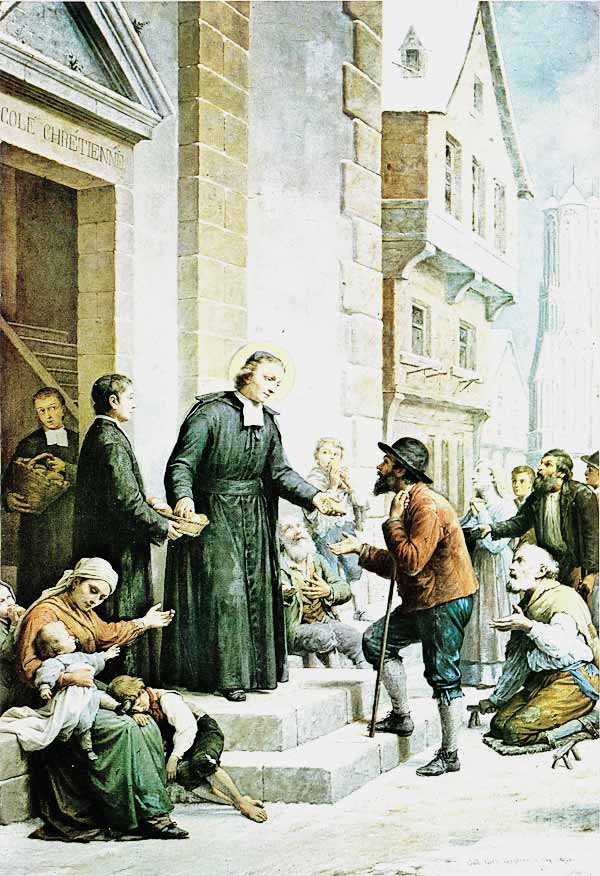 De La Salle distributes his wealth to the poor of Reims
