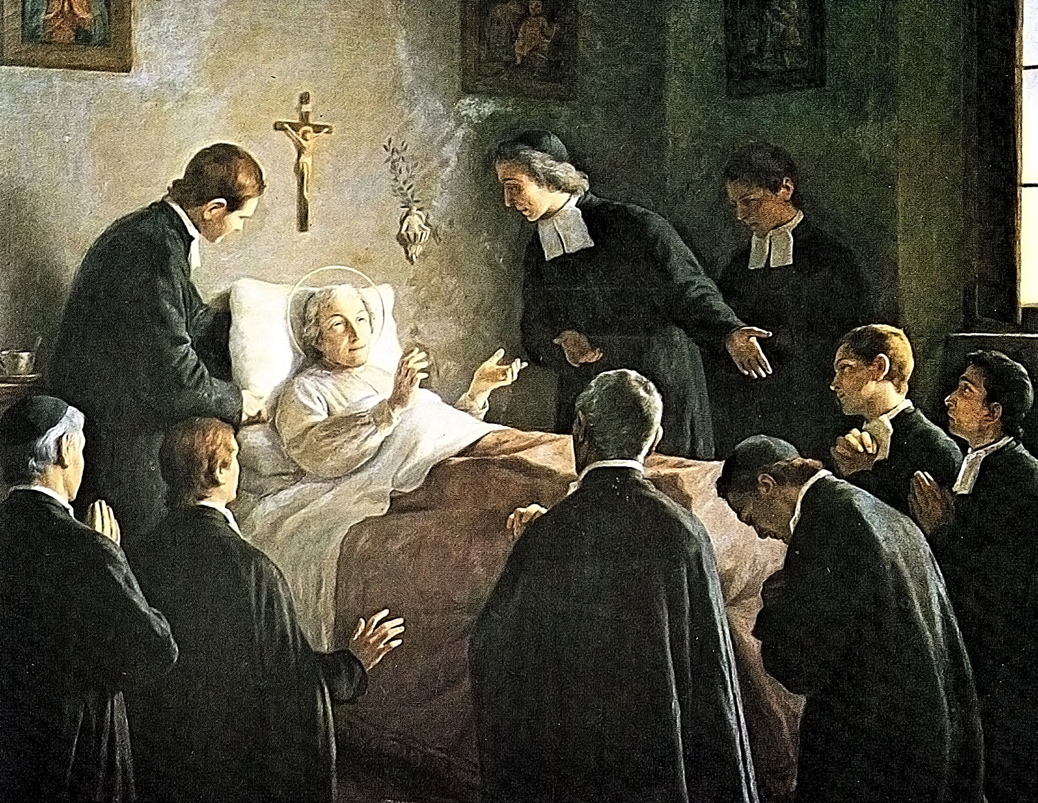 John Baptist De La Salle on his death bed surrounded by his fellow Christian Brothers