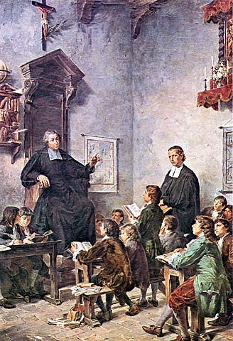 Though not in any specific location, this depiction of a classroom of De La Salle is quite clear.