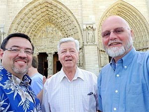 Brother Roch Dufresne, FSC (film director), Brother Gerard Rummery, FSC (speaker and De La Salle expert), and Brother George Van Grieken, FSC (Footsteps creator).