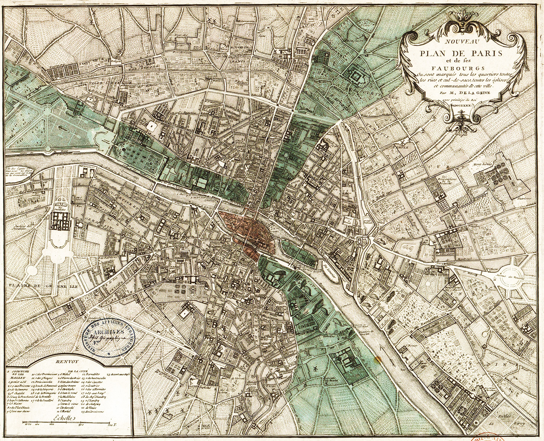 Map of Paris, 1740
